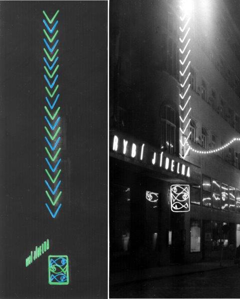 Jan Rajlich st. byl také autorem neonu populární Rybí jídelnyv Brně na Běhounské, 1961, foto M. Budík a G. Tessauer