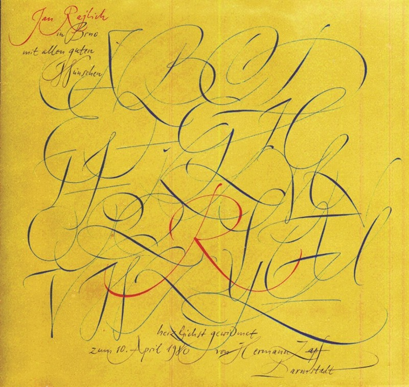 Abeceda, kaligrafie Hermanna Zapfa propisovacími tužkami, věnovaná Jana Rajlichovi st., 1980